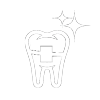 Icon of a tooth with clear style braces, showing that ceramic braces are a translucent alternative to traditional braces.
