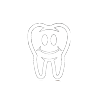 Icon of a tooth with a smiling face to illustrate the Herbst appliance alternative to traditional braces.