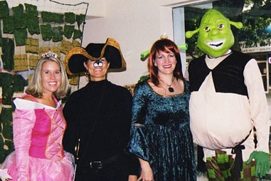 The team at Nelson Orthodontics dressed up as the cast of Shrek.